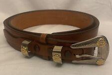 Lyntone Western Ranger Belt Brown Lizard Grain Cowhide Leather Size 36