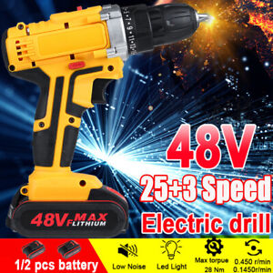 48V 28N.m Torque 1500W Electric Drill Cordless LED Light Power Driver w/