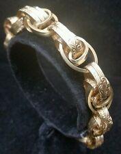 Victorian 14 Karat Pink Gold Charm Bracelet Flower Design 42 Gram Jewelry
