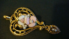 VINTAGE HEART SHAPE PENDANT WITH PORCELAIN ROSES SEED PEARLS GOLD TONE ESTATE