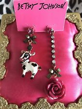 Betsey Johnson Lady Luck Vintage Cow Western Lucite Rose Farm Mismatch Earrings