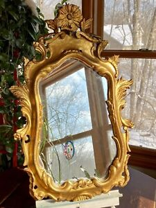 Antique Italian Gold Gilt Wood Carved Hanging Wall Mirror Rococo Florentine