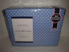 Tommy Hilfiger Polka Dot Flannel Queen Sheet Set Nip Blue White