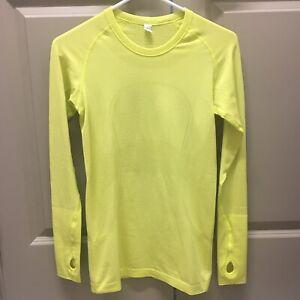 Lululemon Run Swiftly Tech Yellow Shirt Sz 6 long sleeve top size 6 Crew Neck