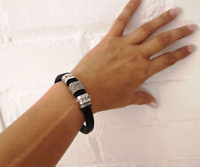 Chunky black faux leather - tibetan silver tone & diamante  magnetic bracelet