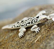 Groß 5 cm Anhänger Silber Gecko Lizard Beweglich Kette Kettenanhänger Salamander
