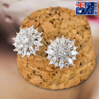 New Genuine 925 Sterling Silver Women Elegant 15MM Crystal Flower Stud Earrings