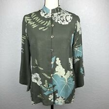 NEW 2 Piece Set CITRON Bell Sleeve Floral Button Blouse Green Silk Pant SMALL