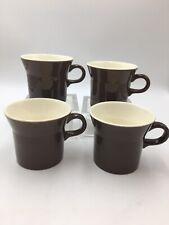 4 Vintage Brown Mugs Usa 3.25� Tall
