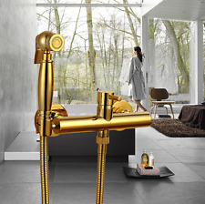 New Brass Gold Toilet Bidet Diaper Sprayer Shower Head With Mixing Valve Set