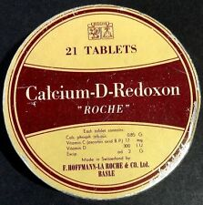 India Vintage Calcium D Redoxon Tablets Tin Box ROCHE Basel Switzerland