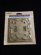 Vintage 1995, Double Light Switch Plate WallPlate Gold Oak Leaf Design Brass