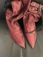 New Women's Zara Fabric High Heel Ankle Boots, Burgundy, Size 6