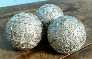 CHRISTMAS TREE BAUBLE BAUBLES x 3 ANTIQUE VINTAGE SILVER MADE IN GERMANY