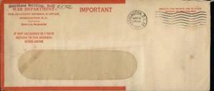 1944 Washington D.C. Virginia (VA) Letter War Department