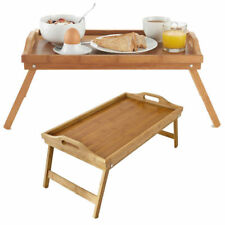 Bamboo Folding Serving Tray Breakfast In Bed, with Handles and Foldable Legs