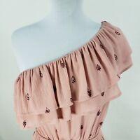 Mossimo Ruffle Dress Sz XS Small Medium Dusty Rose Pink Blush Print One Shoulder
