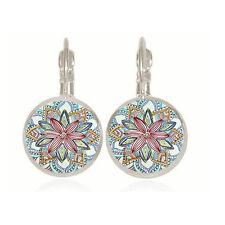 Fashion Glass Flower Hoop Earrings Crystal Ear Pierced Gypsy Tribal Women Boho