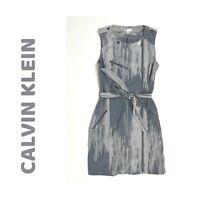 Calvin Klein NWT Gray Sleeveless Belted Sheath Dress, Women's Size 10