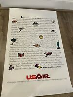 """Vintage US Air Listed Destinations Poster 21 1/2"""" x 34 1/2"""""""