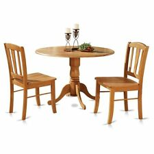 3pc round pedestal drop leaf kitchen table + 2 chairs solid wood light oak