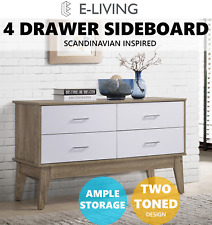 E-Living Furniture Nobu 4 Large Drawers Storage Buffet Unit Sideboard Cupboard - White