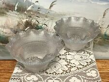 """Holophane Glass Light Shades Waffle Prismatic Fluted Ruffle  2.5"""" Fitter Signed"""