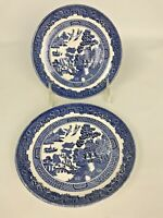 """2 Nice Johnson Brothers Blue Willow China Saucers 5 3/4"""" England"""