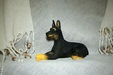 Vintage Doberman Pinscher Dog Figurine Resin Laying Down Black & Tan 3 3/4 L #D1