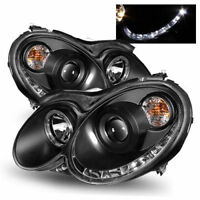 BLACK PROJECTOR DRL HEADLIGHTS FOR MERCEDES CLK W209 2003-2009 NICE GIFT HALOGEN