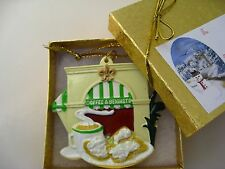 New Orleans Coffee & Beignets Ornament GIFT BOX bow Christmas favor shower OldGr