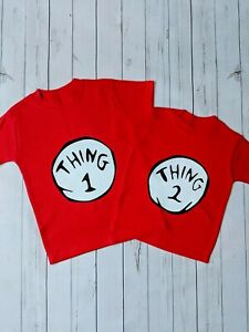 Thing 1 and Thing 2 T-Shirts ( matching, siblings, dr Seuss, fancy dress, gift)