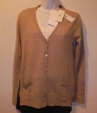 NWT Women's Lacoste X-Fine Merino Wool  Beige V-Neck Cardigan Sweater Sz 4
