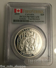 GRIZZLY BEAR TOGETHERNESS FIRST STRIKE PCGS PR70 DCAM 2015 $20 1 oz Silver Coin