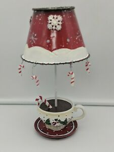 Candy Cane Christmas Holiday Tealight Candle Holder with  Metal Shade