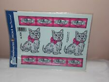 Vgt 1992 Decoral Handpainted Waterslide Decal Westie Dogs A-105 New Old Stock