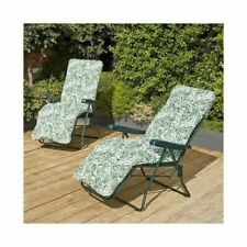2 x Outsunny Recline Cushioned Chaise Lounge Garden Recliner Chair Sun Lounger