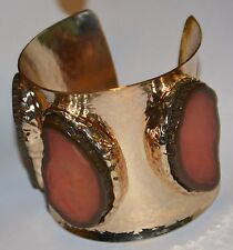 Jordana Agate Triad Cuff hammered GOLD WIDE BRACELET must see show stopper