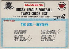 "1977 SCANLENS RUGBY LEAGUE TEAM CHECKLIST CARD: NEWTOWN JETS ""FAIR"""