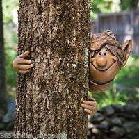 GARDEN ELF TREE PEEKER NOVELTY GARDEN ORNAMENT DECORATION FUNNY FACE FENCE SHED