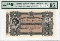 Uruguay 1883 10 Pesos PMG Certified Banknote UNC 66 EPQ Gem S242r Top Pop BWC