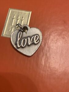 Retired James Avery Sterling Silver LOVE  in Heart Charm Pendant
