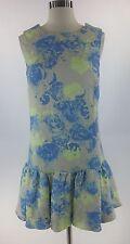 Asos Dress 8 M beige blue floral quilt drop waist sleeveless casual UK size 12