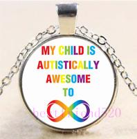 Autism Mom Cabochon Glass Silver//Black//Bronze Chain Pendant Necklace#Di39