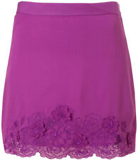 Topshop UK 16 Purple Embroidered Rose Applique Hem Summer Casual Skirt