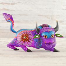 A1575 Bison Alebrije Oaxacan Wood Carving Painting Handcrafted Folk Art Mex
