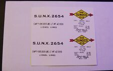 LIONEL SUNOCO S.U.N.X. 2654 TANK CAR CLEAR WATERSLIDE  2 DECAL PER SET LOOK!