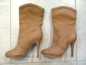 BOUTIQUE 9 Western Tan Brown Boots Genuine Leather High Heels 8 M