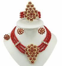 ROSSO ELEGANTE 3 strati perline RED CRYSTAL FIORE Collana Orecchino Jewelry Set
