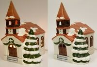 Christmas Ceramic Church Chapel Clock Tower Lighted Tree With Snow Holiday Decor